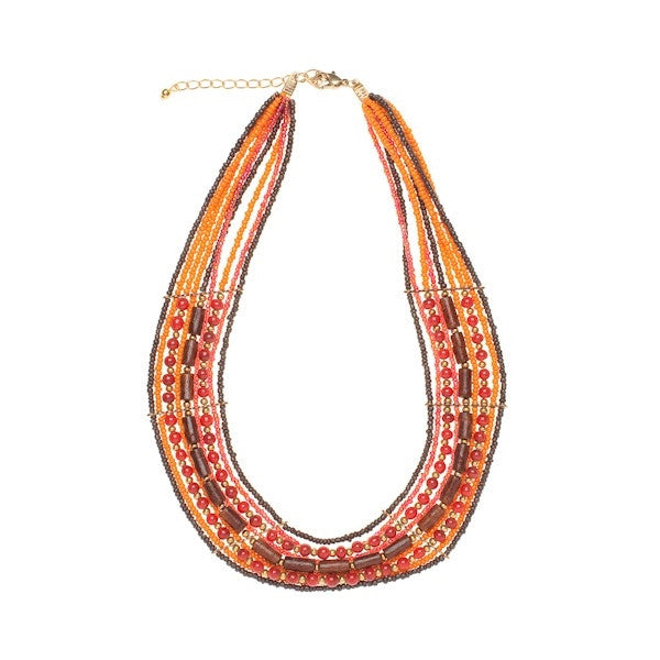 Orange Brown Black Necklace - I Love Tunics @ www.ilovetunics.com