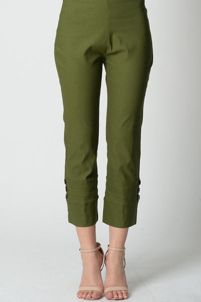 Olive Green 3 Button 7/8 Pant