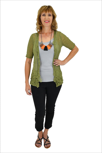 Olive Green Button Up Mesh Cardigan - at I Love Tunics @ www.ilovetunics.com = Number One! Tunics Destination
