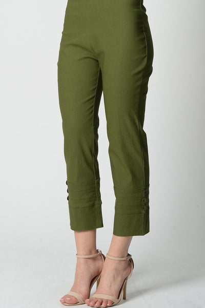 Olive Green 3 Button 7/8 Pant - I Love Tunics @ www.ilovetunics.com