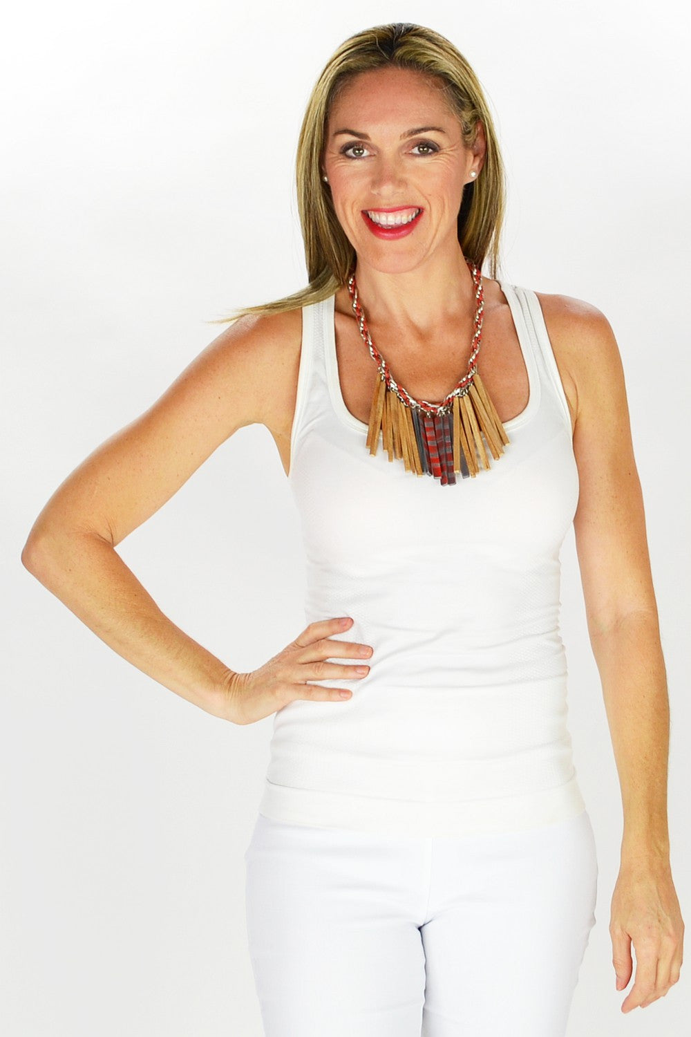 Red Beige Choker Necklace - at I Love Tunics @ www.ilovetunics.com = Number One! Tunics Destination