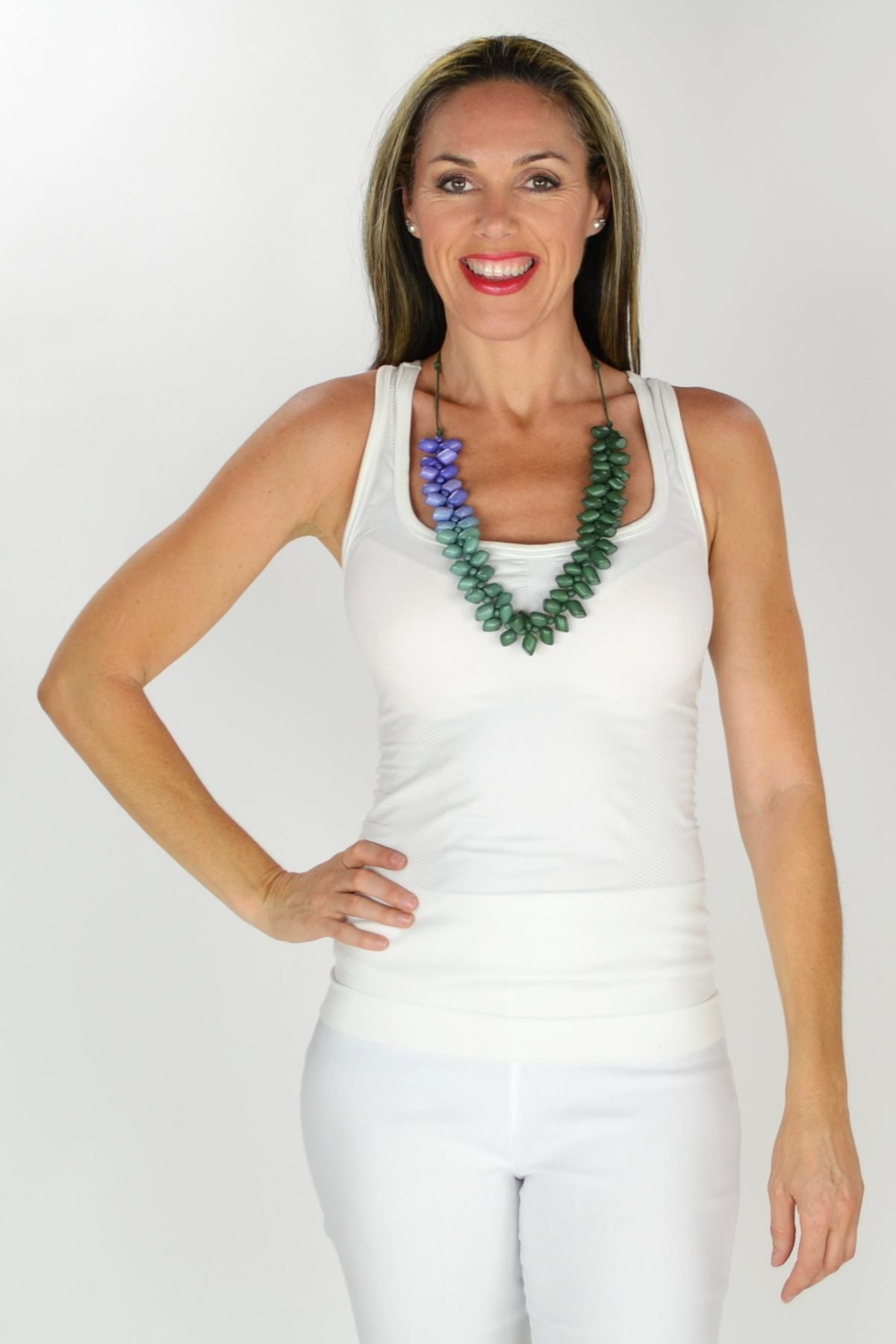 Purple Green Wooden Beads Necklace | I Love Tunics | Tunic Tops | Tunic | Tunic Dresses  | womens clothing online
