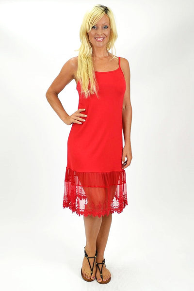 Threadz Red Lace Trim Slip