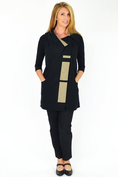 Black Beige Stylish Vest - at I Love Tunics @ www.ilovetunics.com = Number One! Tunics Destination