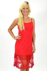 Threadz Red Lace Trim Slip | I Love Tunics | Tunic Tops | Tunic | Tunic Dresses  | womens clothing online