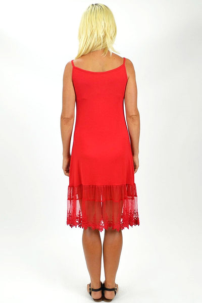 Threadz Red Lace Trim Slip - at I Love Tunics @ www.ilovetunics.com = Number One! Tunics Destination
