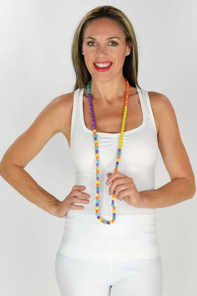 Multicolour Beads Long Necklace