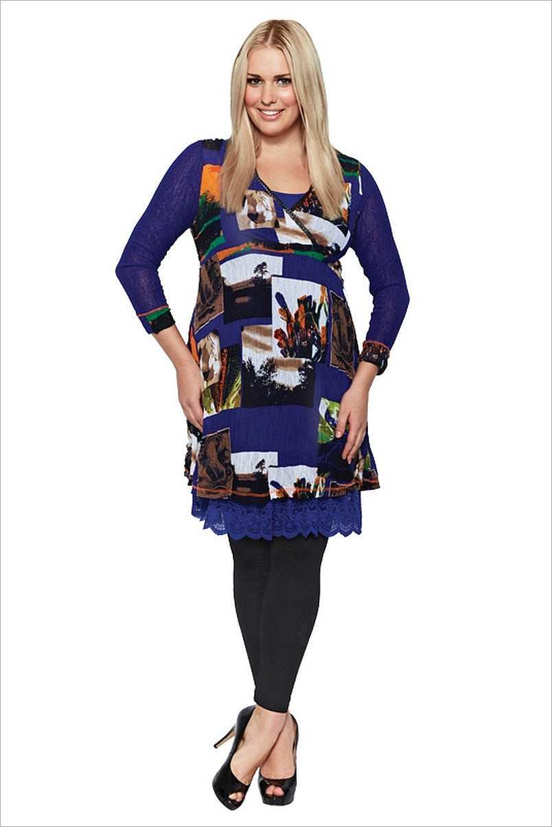 Blue Squares Tunic | I Love Tunics | Tunic Tops | Tunic Dresses | Women's Tops | Plus Size Australia | Mature Fashion