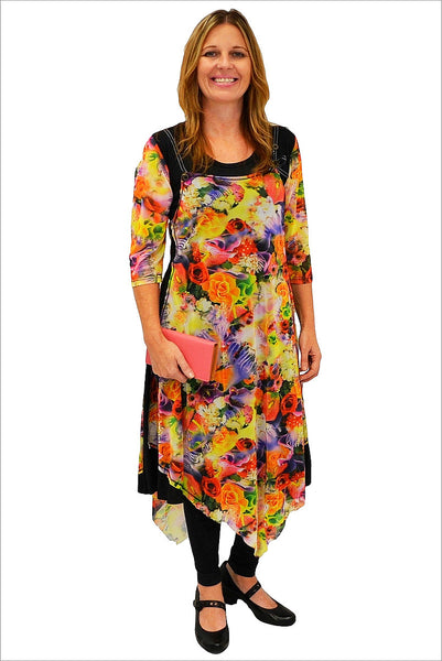 Floral Pattern Long Tunic - at I Love Tunics @ www.ilovetunics.com = Number One! Tunics Destination