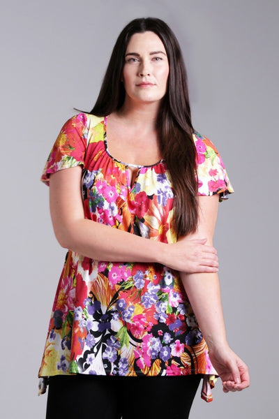 Floral Rainbow Tunic - at I Love Tunics @ www.ilovetunics.com = Number One! Tunics Destination