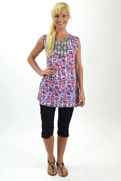 Abstract Pattern Sleeveless Tunic