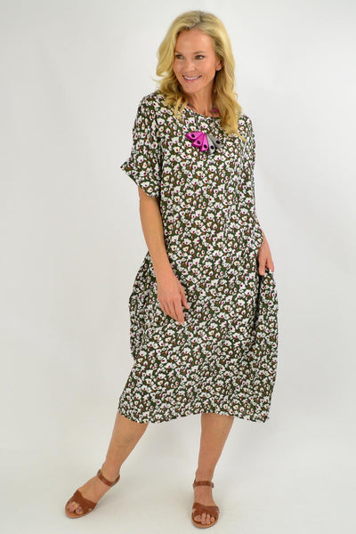 Olive Green Tiny Floral Tunic Dress