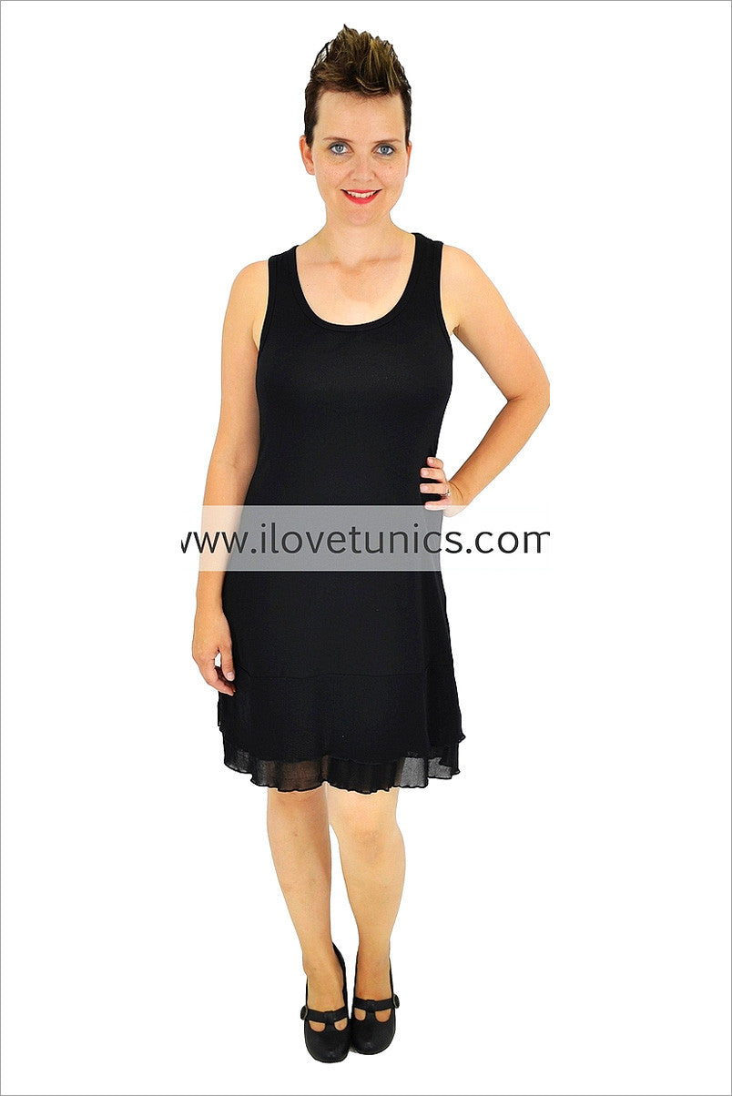 Clarity Black Mesh Hem Slip - at I Love Tunics @ www.ilovetunics.com = Number One! Tunics Destination