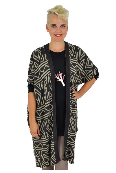 Aztec Knit Cardigan | I Love Tunics | Tunic Tops | Tunic Dresses | Women's Tops | Plus Size Australia | Mature Fashion