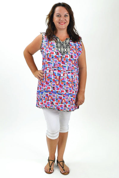 Abstract Pattern Sleeveless Tunic | I Love Tunics | Tunic Tops | Tunic | Tunic Dresses  | womens clothing online