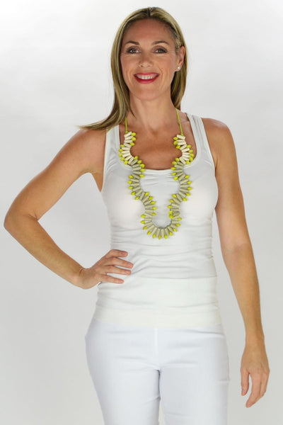 Lime White Grey Beads Necklace