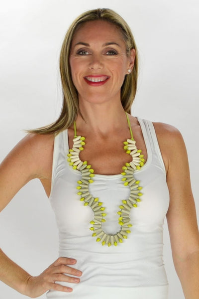 Lime White Grey Beads Necklace | I Love Tunics | Tunic Tops | Tunic | Tunic Dresses  | womens clothing online