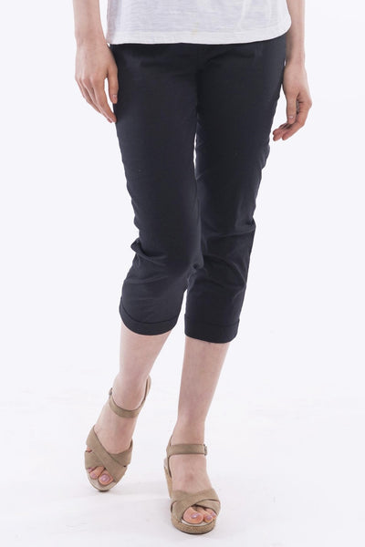 Black Cotton Bengaline Pants