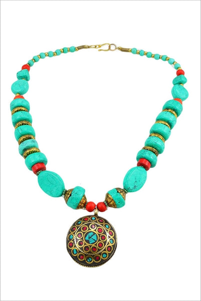 Aqua stone necklace w brass pendant - at I Love Tunics @ www.ilovetunics.com = Number One! Tunics Destination