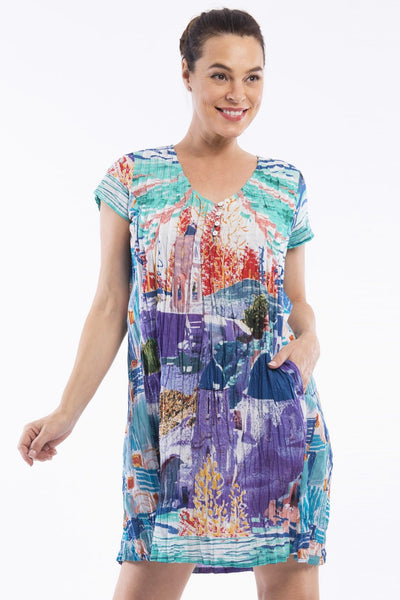 Santorini D Print Tunic Dress - at I Love Tunics @ www.ilovetunics.com = Number One! Tunics Destination