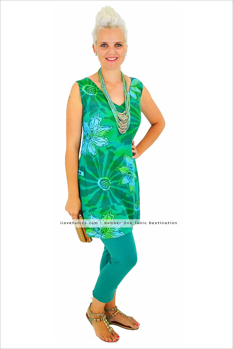 Green Lagoon Long Tunic | I Love Tunics | Tunic Tops | Tunic Dresses | Women's Tops | Plus Size Australia | Mature Fashion