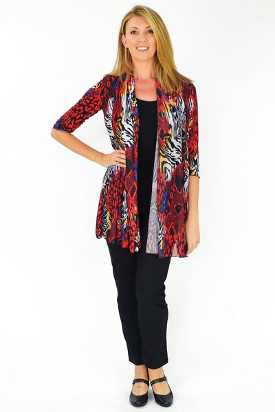 Red Animal Print Cardigan