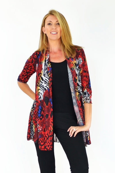 Red Animal Print Cardigan | I Love Tunics | Tunic Tops | Tunic | Tunic Dresses  | womens clothing online