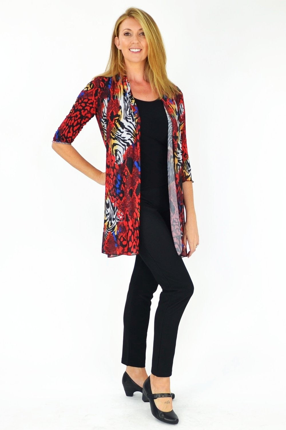 Red Animal Print Cardigan - at I Love Tunics @ www.ilovetunics.com = Number One! Tunics Destination