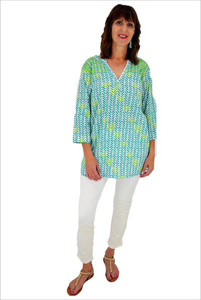 Green Zig Zag Tunic - at I Love Tunics @ www.ilovetunics.com = Number One! Tunics Destination