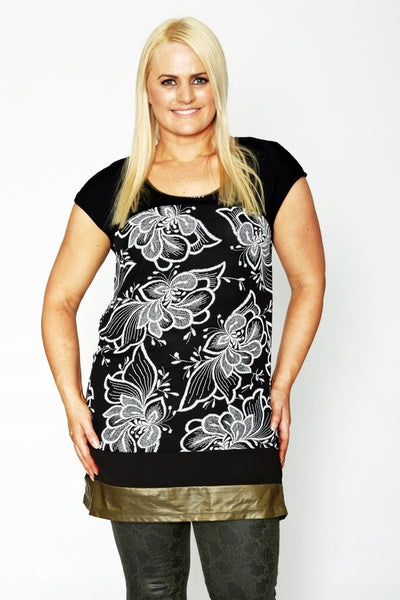 Black White Floral Tunic