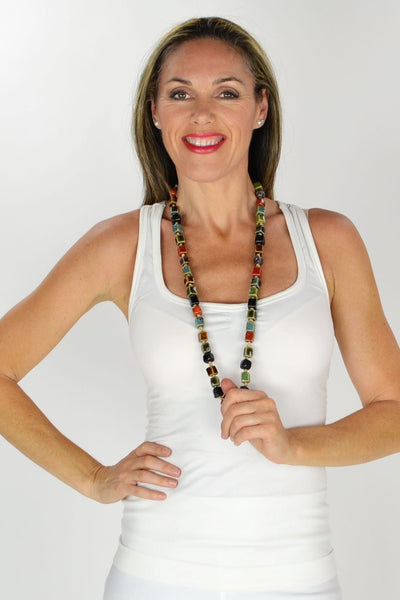 Long Square Beads Ceramic Necklace