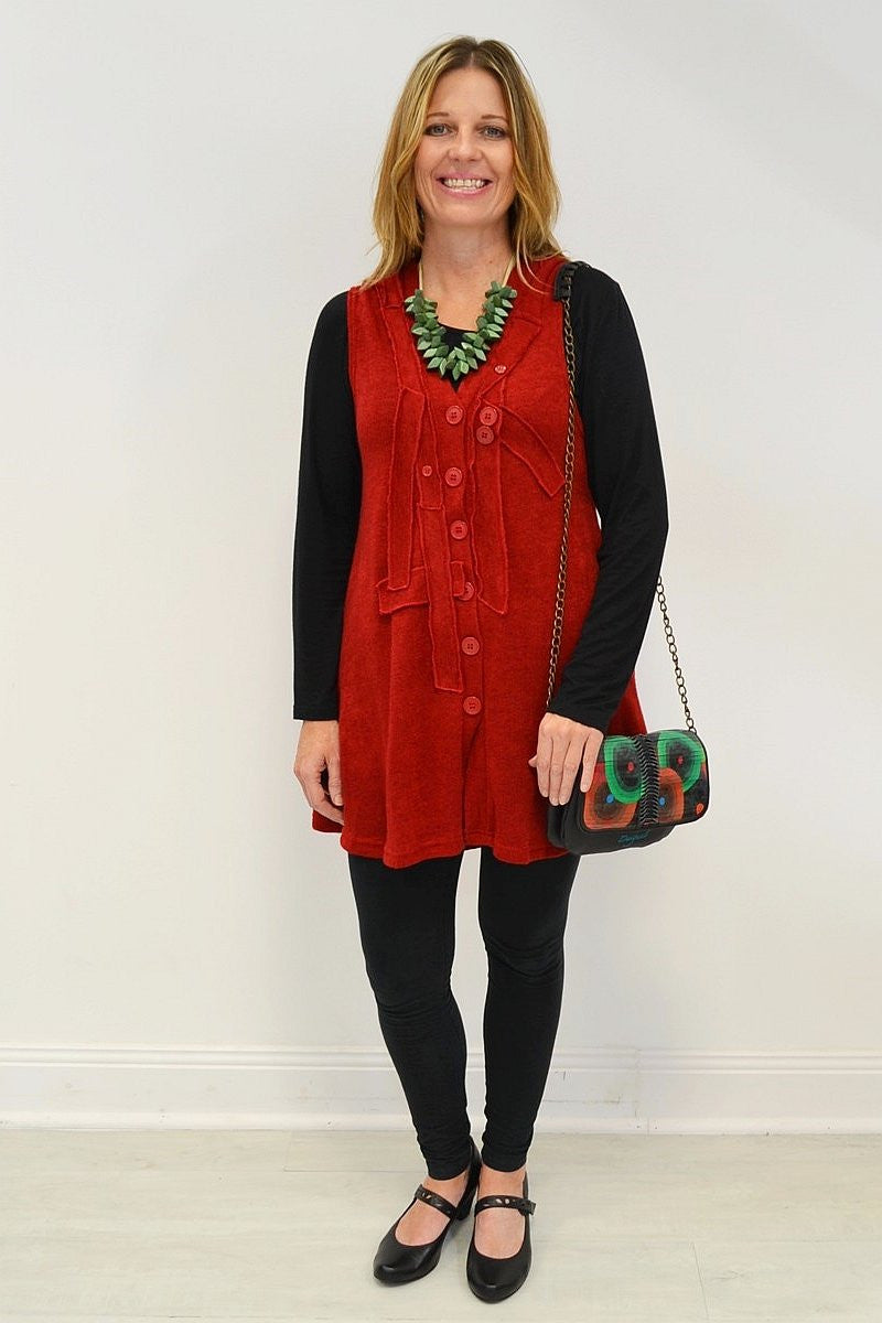 Red Betty Vest - at I Love Tunics @ www.ilovetunics.com = Number One! Tunics Destination