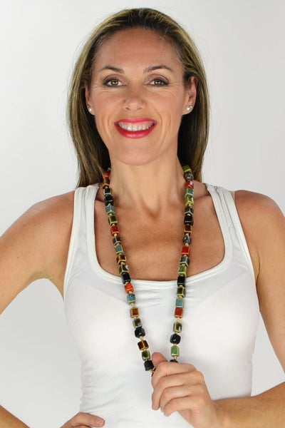 Long Square Beads Ceramic Necklace | I Love Tunics | Tunic Tops | Tunic | Tunic Dresses  | womens clothing online