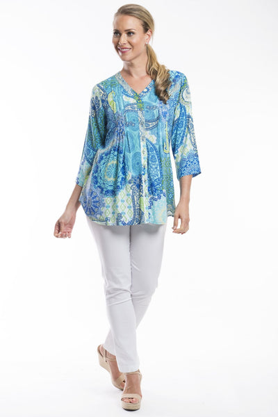 Orientique Genoa Pleated Tunic Blouse Shirt