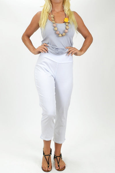 White Crop Pants - at I Love Tunics @ www.ilovetunics.com = Number One! Tunics Destination