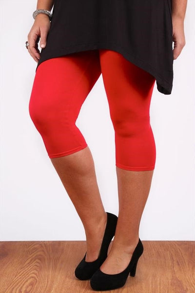 Red 3/4 Plus Size Leggings