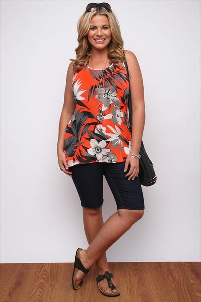 Neon Coral Tropical Tunic