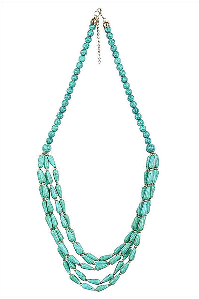 Long Turquoise Beads Necklace