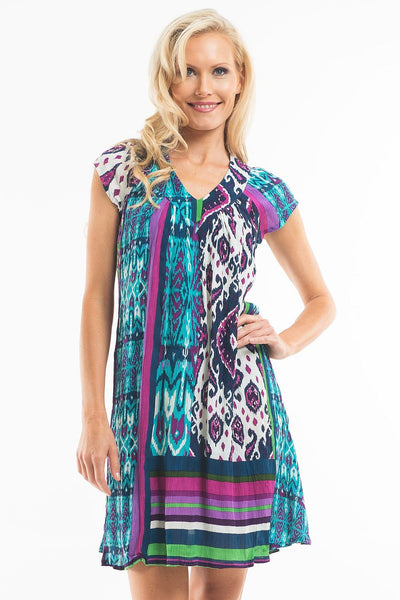 Purple Moroccan Cap Sleeve Tunic - at I Love Tunics @ www.ilovetunics.com = Number One! Tunics Destination