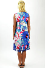 Cotton Blue Floral Tunic Dress - I Love Tunics @ www.ilovetunics.com