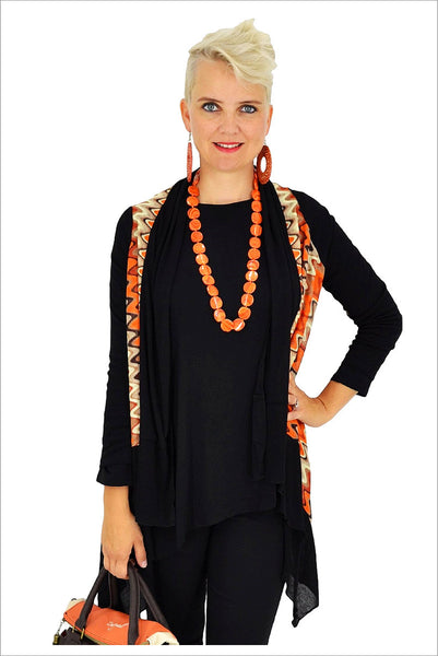 Orange Zig Zag Mesh Cardigan - at I Love Tunics @ www.ilovetunics.com = Number One! Tunics Destination