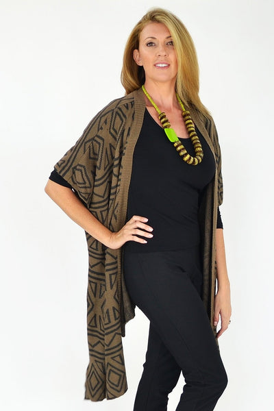 Aztec Tan Knit Cardigan | I Love Tunics | Tunic Tops | Tunic Dresses | Women's Tops | Plus Size Australia | Mature Fashion