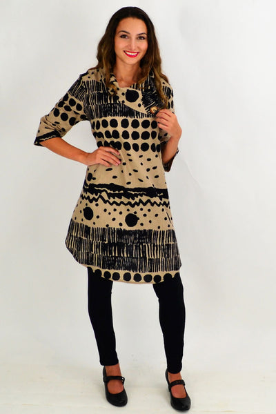 Beige Spots and Dots Tunic Dress