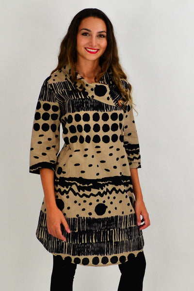Beige Spots and Dots Tunic Dress | I Love Tunics | Tunic Tops | Tunic | Tunic Dresses  | womens clothing online