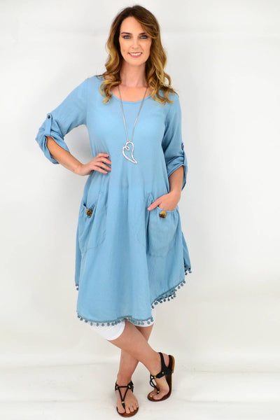 Wedgwood Blue Scooped Neck Tunic Dress | I Love Tunics | Tunic Tops | Tunic | Tunic Dresses  | womens clothing online