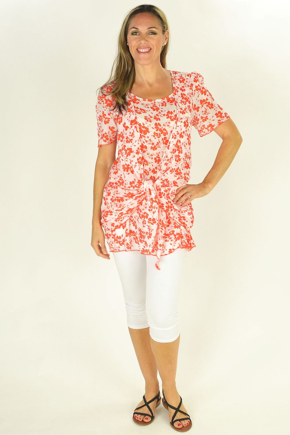 Orange Cherry Blossom Tunic - at I Love Tunics @ www.ilovetunics.com = Number One! Tunics Destination