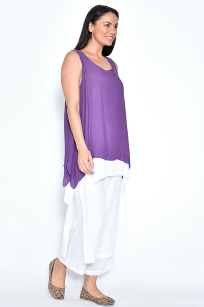 White Double Layer Pants | I Love Tunics | Tunic Tops | Tunic Dresses | Women's Tops | Plus Size Australia | Mature Fashion