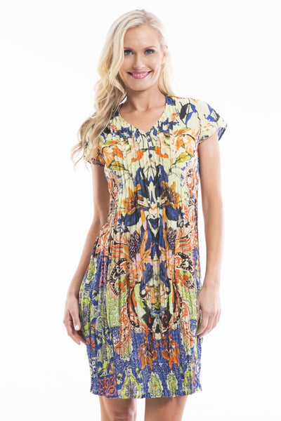 Yellow Blue Rayon Tunic Dress - at I Love Tunics @ www.ilovetunics.com = Number One! Tunics Destination