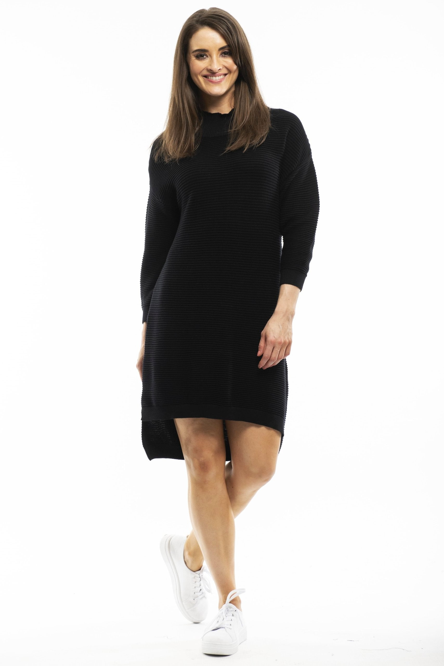 Black Ribbed Knit Tunic Dress By Orientique | I Love Tunics | Tunic Tops | Tunic | Tunic Dresses  | womens clothing online