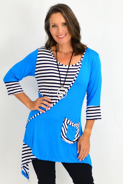 blue tunic black top